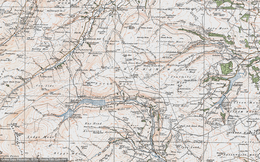 Old Map of Historic Map covering Woo Gill in 1925