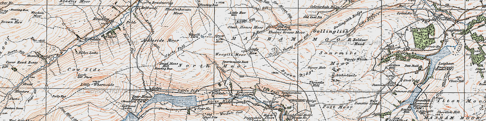 Old map of Woodale Scar in 1925