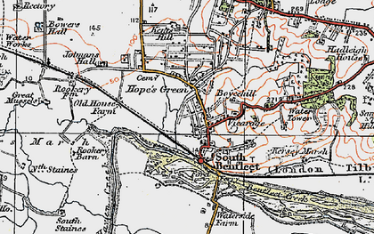 Old map of South Benfleet in 1921