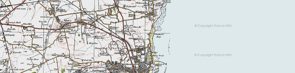 Old map of Whitburn Bay in 1925