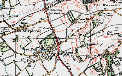 Old map of South Cave in 1924