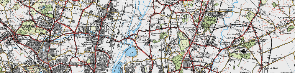 Old map of South Chingford in 1920