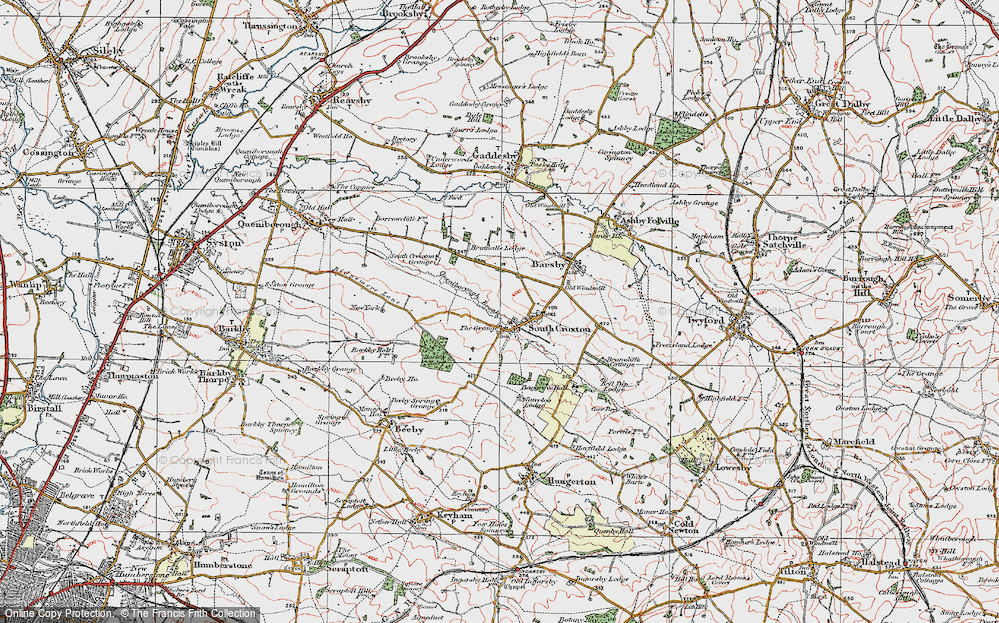 Old Map of Historic Map covering Barkby Holt in 1921