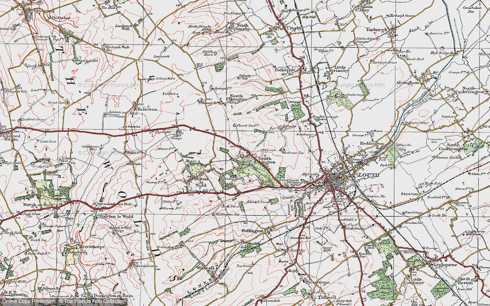 Old Map of Historic Map covering Ackthorpe Village in 1923