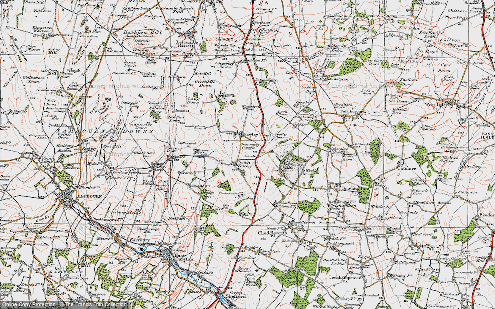 Old Map of Historic Map covering Whatcombe in 1919