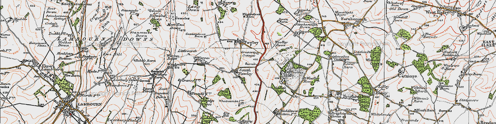 Old map of Whatcombe in 1919
