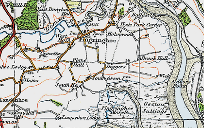 Old map of Langenhoe Marsh in 1921