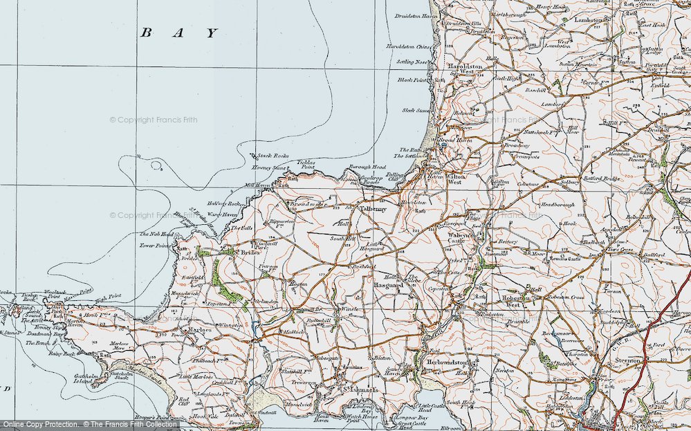 Old Map of Historic Map covering Ticklas Point in 1922