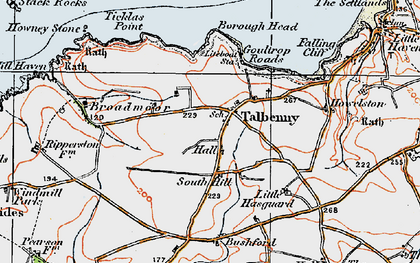 Old map of Ticklas Point in 1922