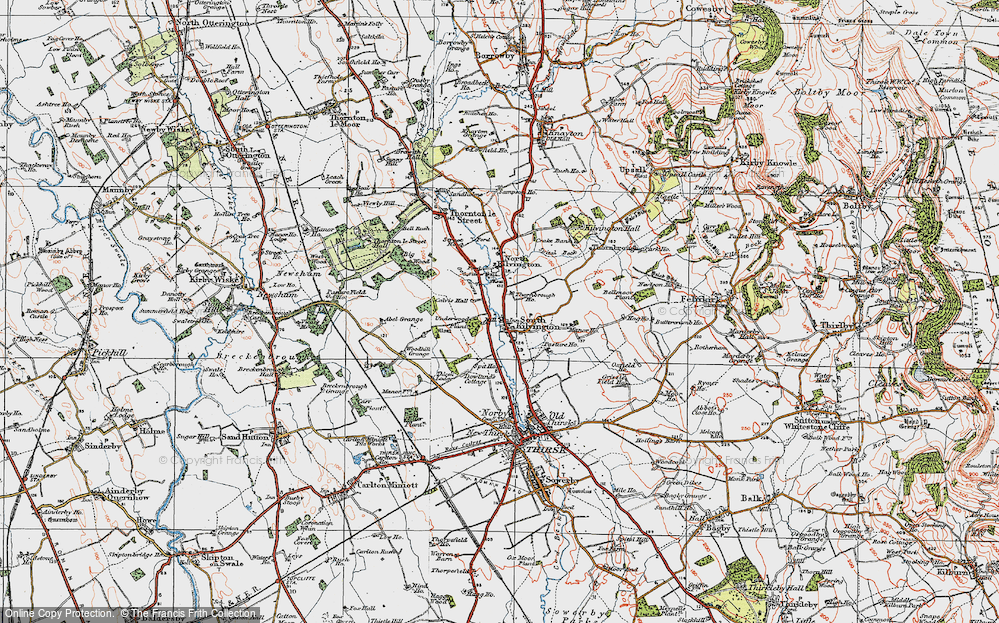 Old Map of Historic Map covering Woodhill Grange in 1925