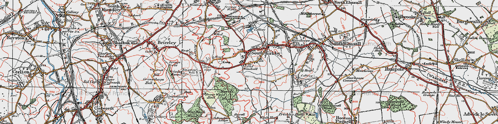 Old map of South Kirkby in 1924