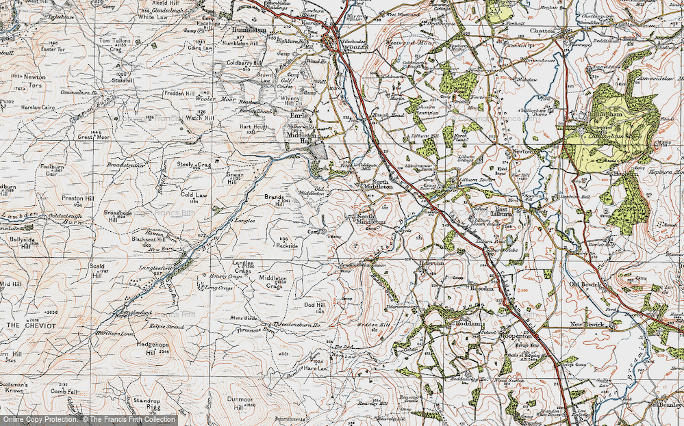 Old Map of Historic Map covering Lilburn Burn in 1926