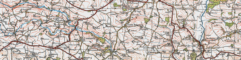 Old map of West Petherwin in 1919