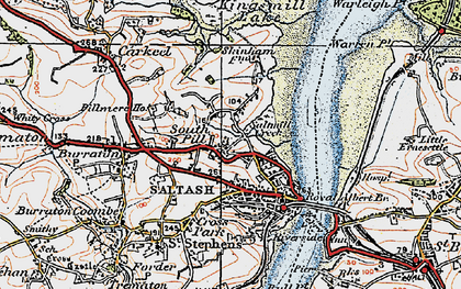 Old map of South Pill in 1919