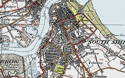 Old map of South Shields in 1925