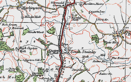 Old map of Wormald Green in 1925
