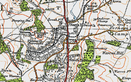 Old map of South Tidworth in 1919