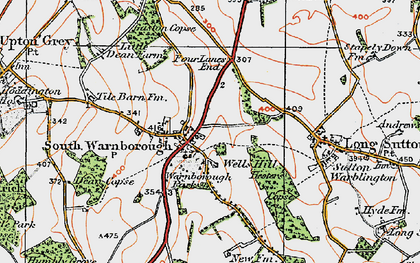 Old map of South Warnborough in 1919