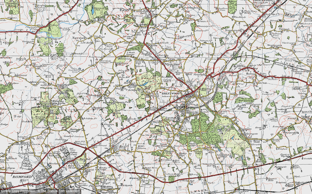 Old Map of Historic Map covering Langtons in 1920
