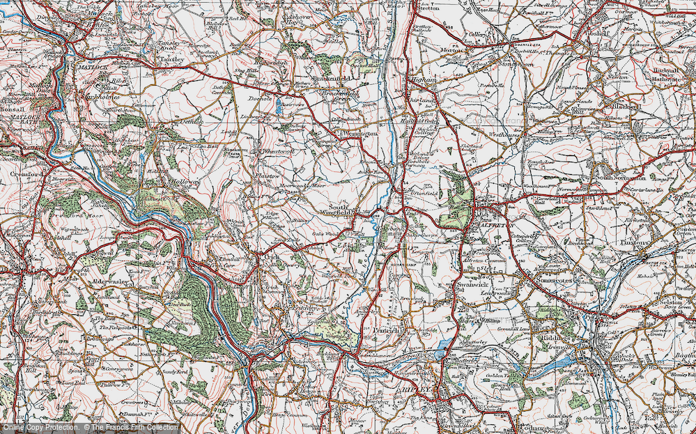 Old Map of South Wingfield, 1923 in 1923