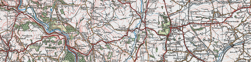 Old map of South Wingfield in 1923
