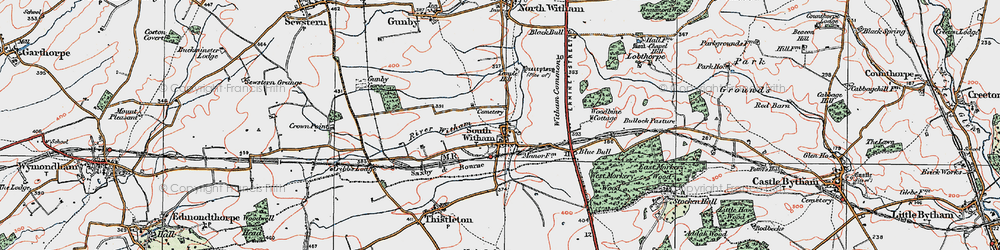 Old map of Witham Common in 1922