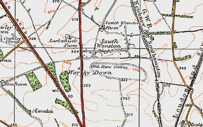 Old map of Worthy Down in 1919