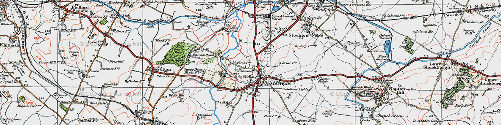 Old map of Southam in 1919