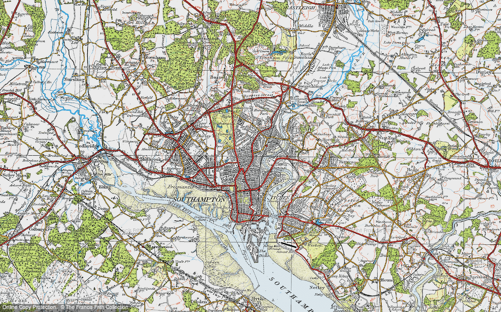 Old Map of Southampton, 1919 in 1919
