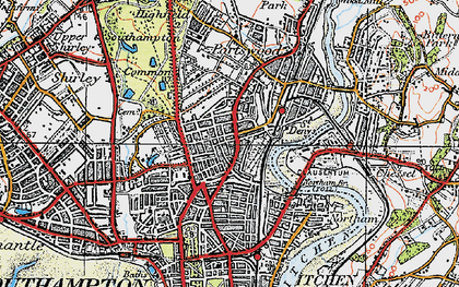 Old map of Southampton in 1919