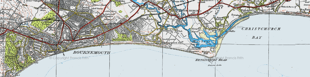 Old map of Southbourne in 1919