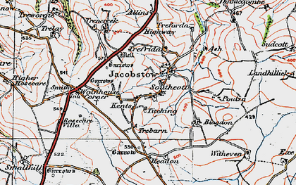 Old map of Southcott in 1919