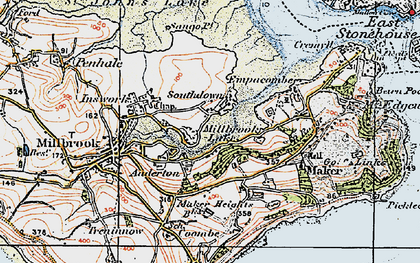 Old map of Southdown in 1919