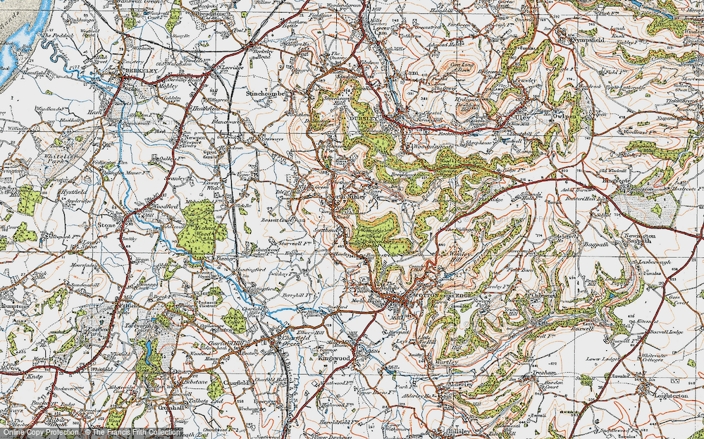 Old Map of Historic Map covering Westridge Wood in 1919