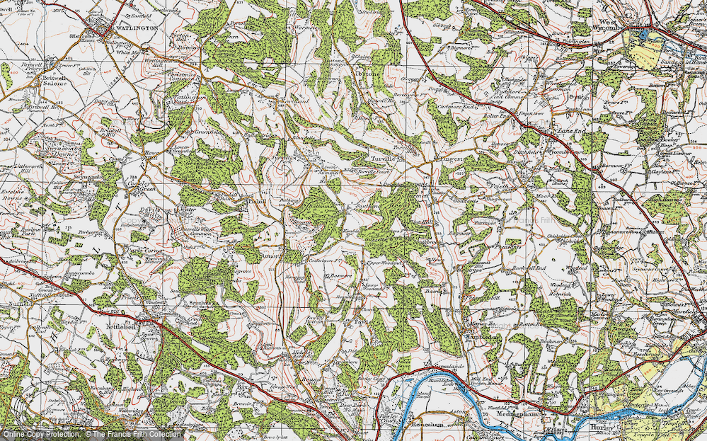 Old Map of Historic Map covering Balham's Wood in 1919