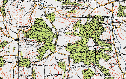 Old map of Balham's Wood in 1919