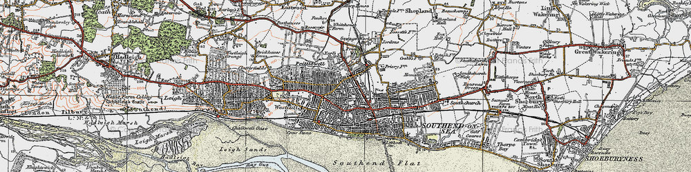 Old map of Southend-on-Sea in 1921