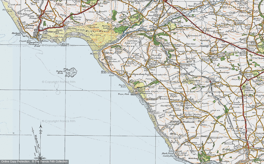 Old Map of Historic Map covering Dunraven Bay in 1922