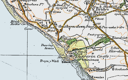 Old map of Southerndown in 1922