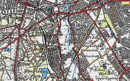 Old map of Southfields in 1920