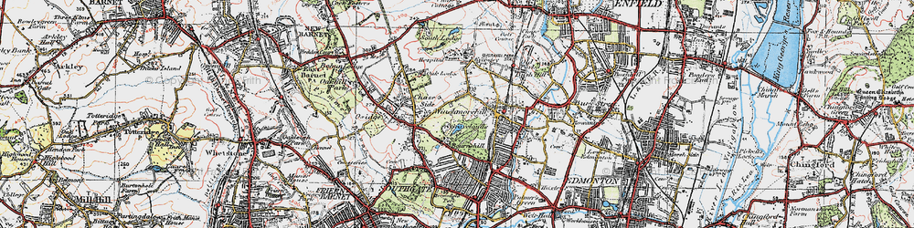 Old map of Southgate in 1920