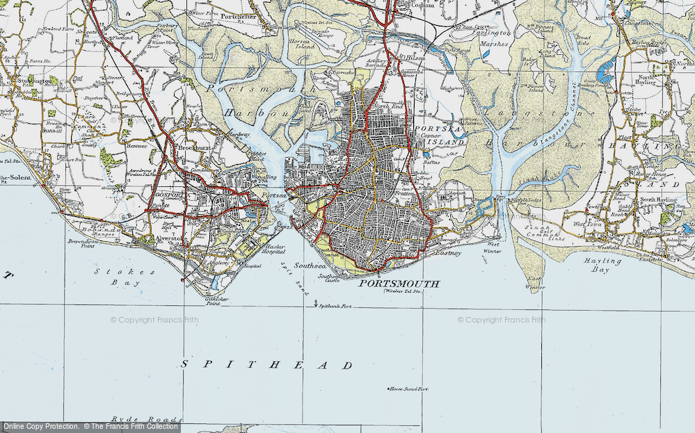 Old Map of Southsea, 1919 in 1919
