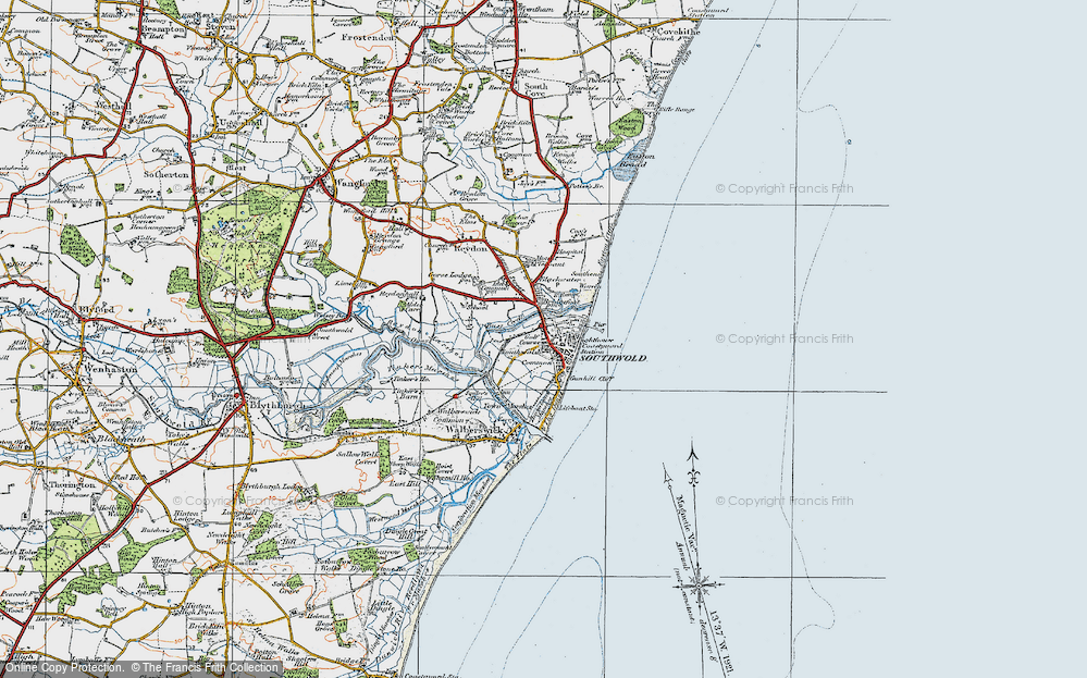 Old Map of Southwold, 1921 in 1921