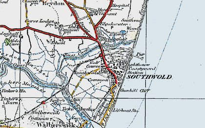 Old map of Southwold in 1921