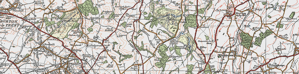 Old map of Wicket Nook in 1921