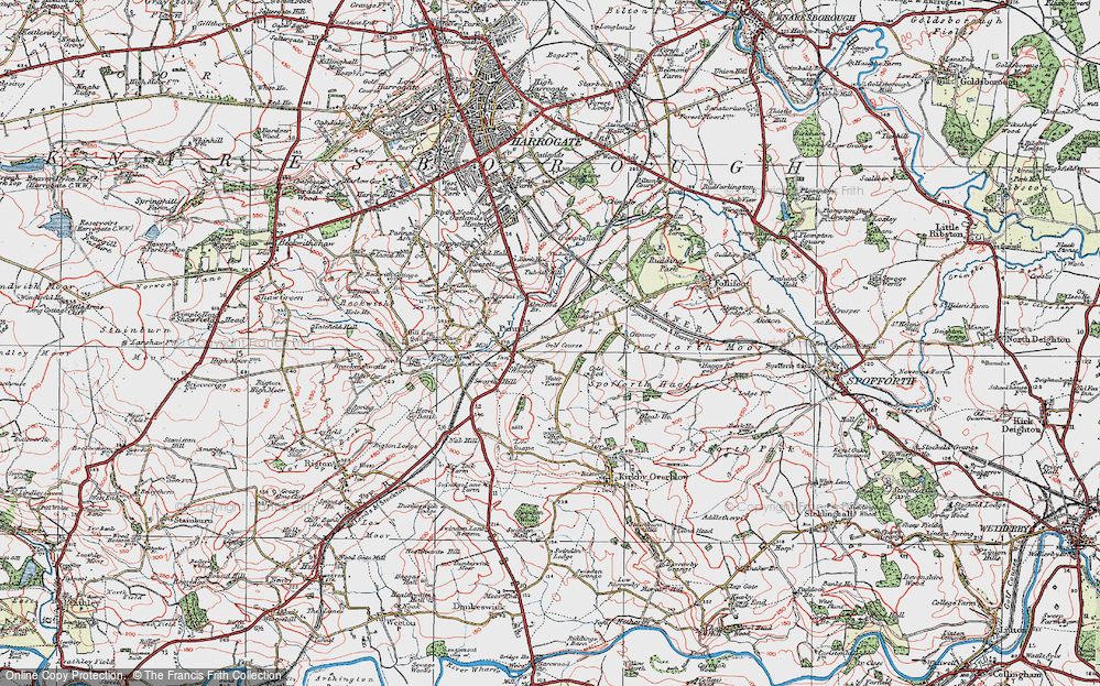 Old Map of Historic Map covering Almsford Br in 1925