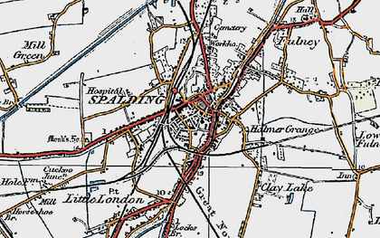 Old map of Spalding in 1922