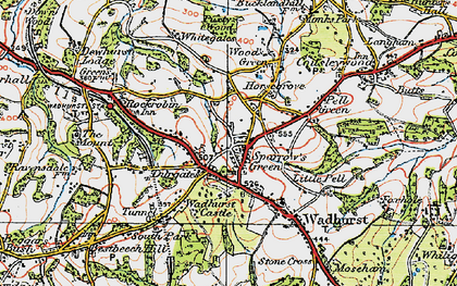Old map of Sparrow's Green in 1920