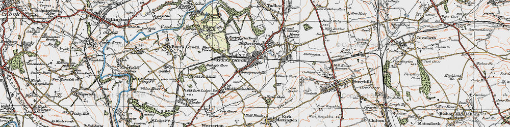 Old map of Spennymoor in 1925
