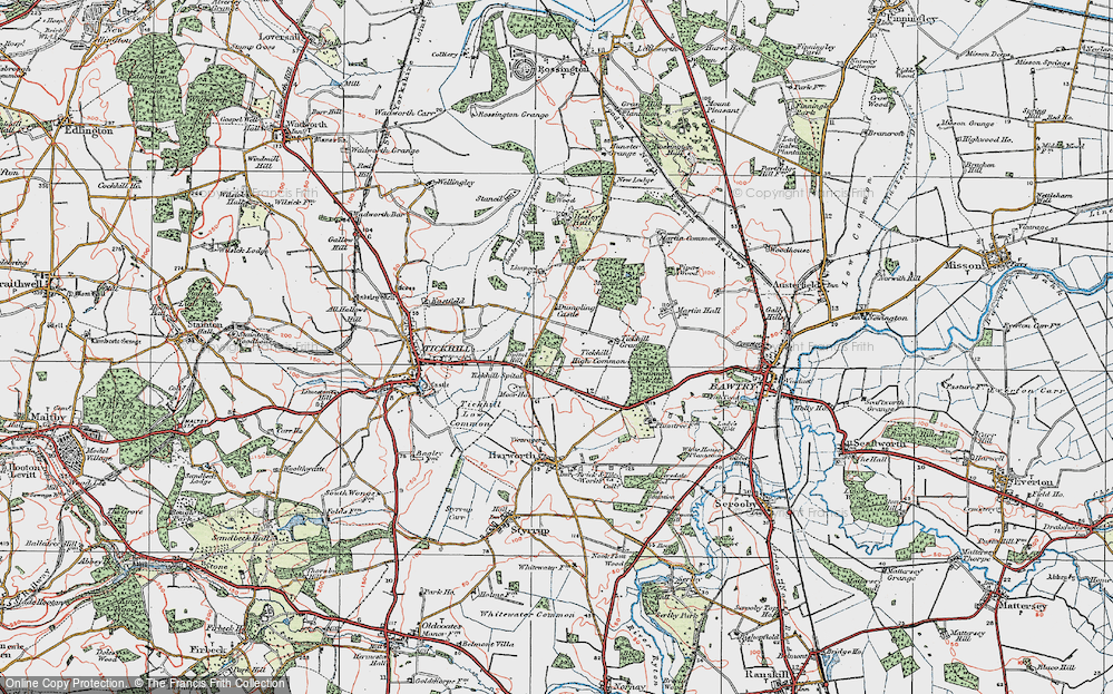 Old Map of Historic Map covering Tickhill High Common in 1923